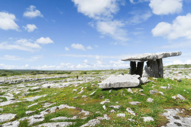 Karst landscape with pre-historian stone altar in Ireland Beautiful mystical scenery in the Burren with Poulnabrone Dolmen portal dolmen stock pictures, royalty-free photos & images