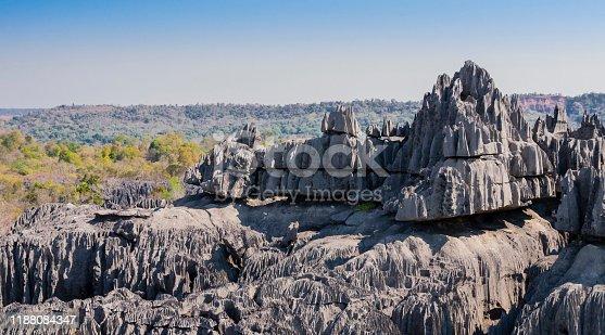 Impressive karst limestone formations in Tsingy de Bemaraha National Park, Madagascar