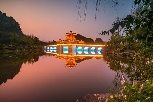 li river at dusk,xingping,yangshuo,guilin,china