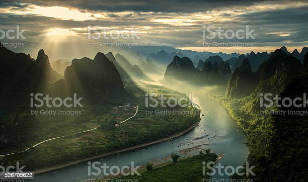Photo of Karst mountains and river Li in Guilin/Guangxi region of China