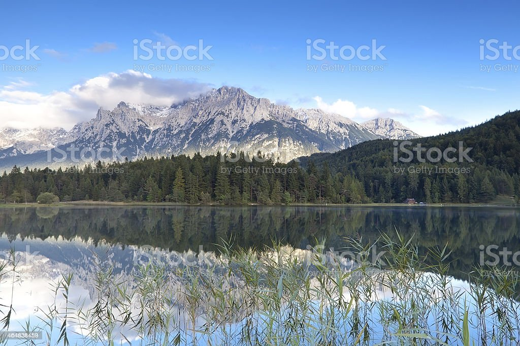 Karwendel mountain range and Lautersee lake stock photo
