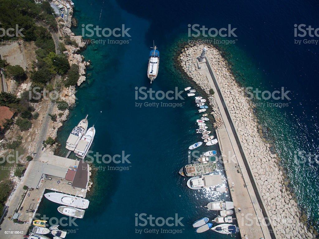Kas Harbor Turkey Aerial Shot stock photo