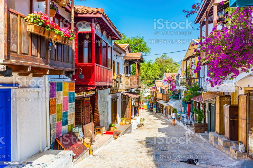 Kas town streets in Turkey stock photo