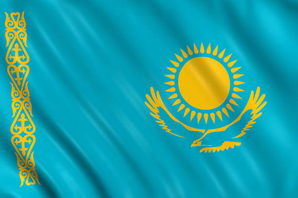 kasakhstan flag Flag of kasakhstan waving with highly detailed textile texture pattern kazakhstan stock pictures, royalty-free photos & images
