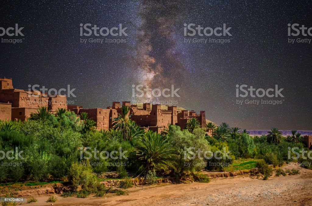 Kasbah Ait Ben Haddou at night, Morocco stock photo