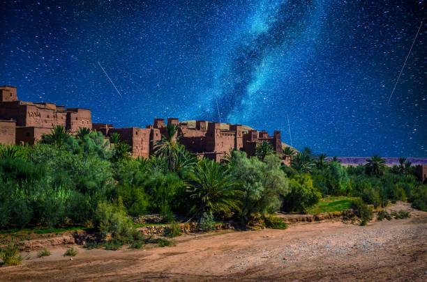 Kasbah Ait Ben Haddou in the desert near Atlas Mountains at night, Morocco stock photo