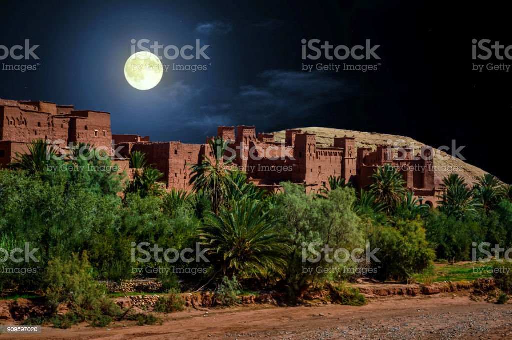 Kasbah Ait Ben Haddou in the desert near Atlas Mountains at night, Morocco stock photo
