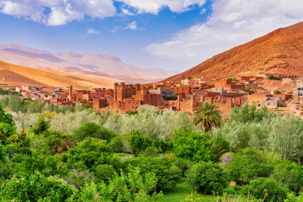 Kasbah and village in Morocco North Africa stock photo