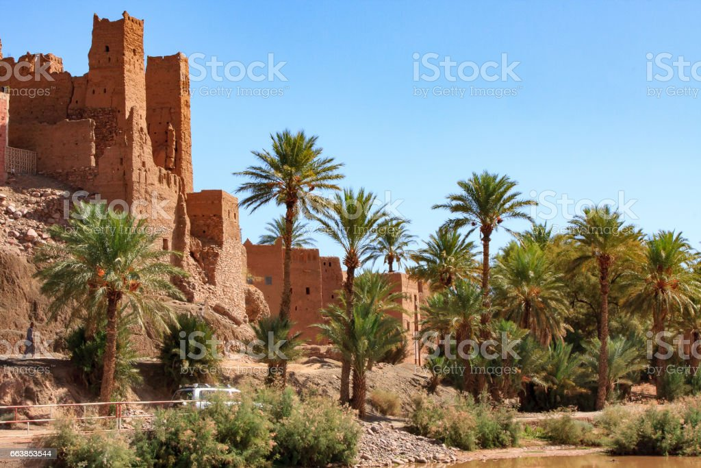 Kasbah in Draa valley Morocco stock photo