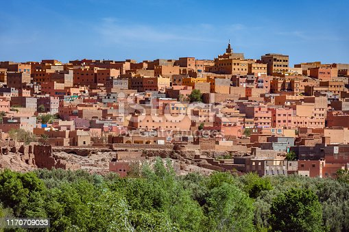 Kasbah of Tinerhir and Atlas Mountains in Morocco, North Africa,Nikon D3x