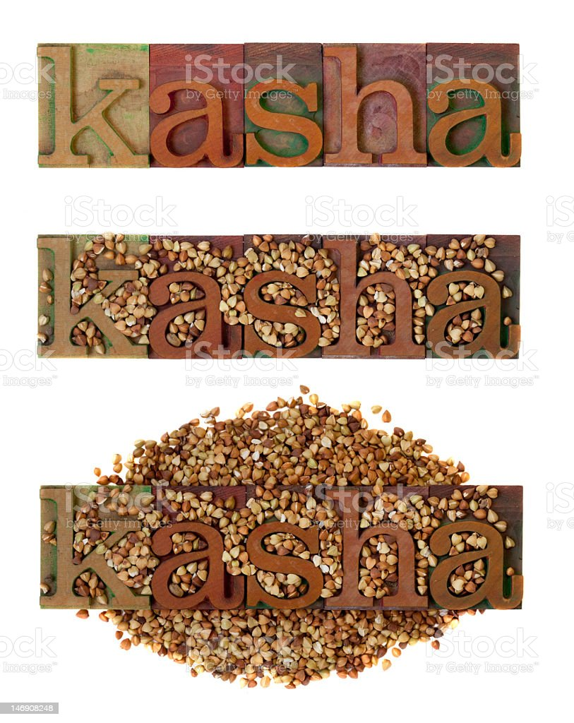 kasha - roasted buckwheat stock photo