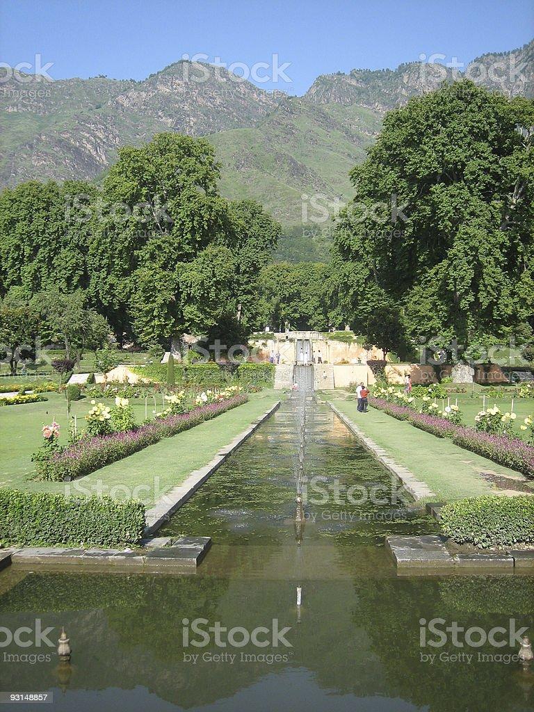 Kashmir - fountains in a Mughal Garden, India stock photo