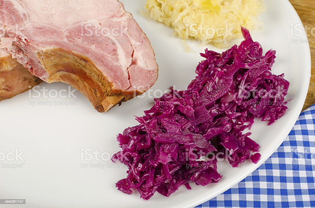 Kasseler and side dish ingredients stock photo
