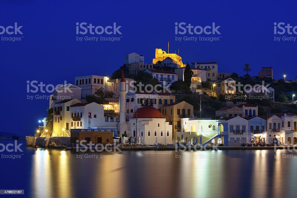 Kastellorizo at blue hour stock photo