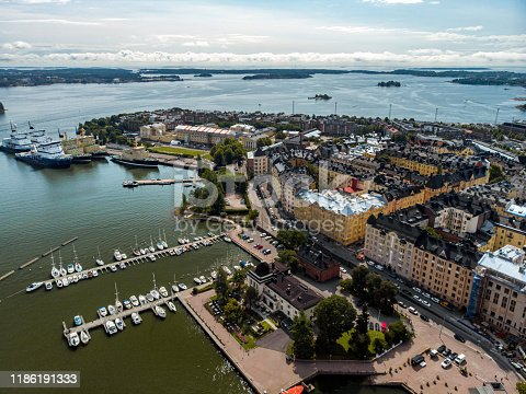 Aerial view of Katajanokka neighbourhood in Helsinki, Finland