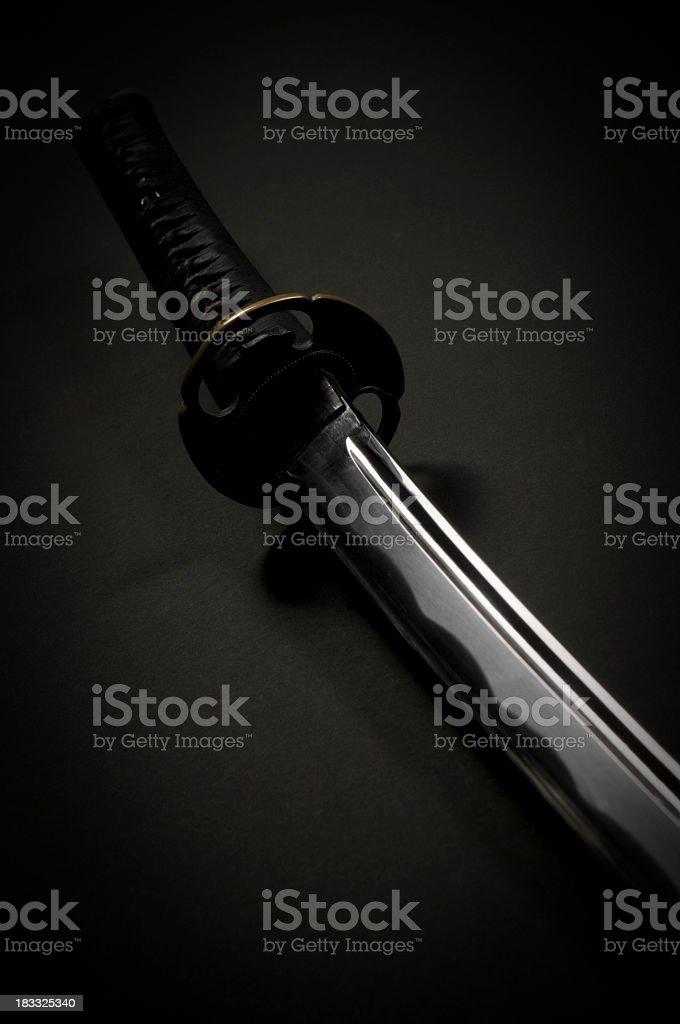 Katana, black background stock photo