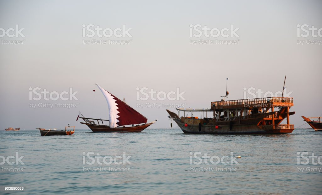 Katara beach Qatar traditional wooden boats dhow. Gulf, transport. - Royalty-free Bay of Water Stock Photo