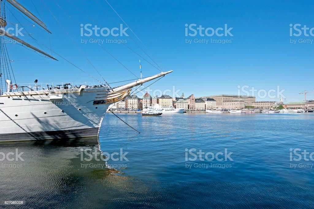 Katarina-Sofia view and tall ship, Stockholm, Sweden. stock photo