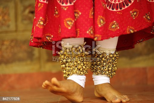 Macro photo of foot movement of a female kathak dancer.