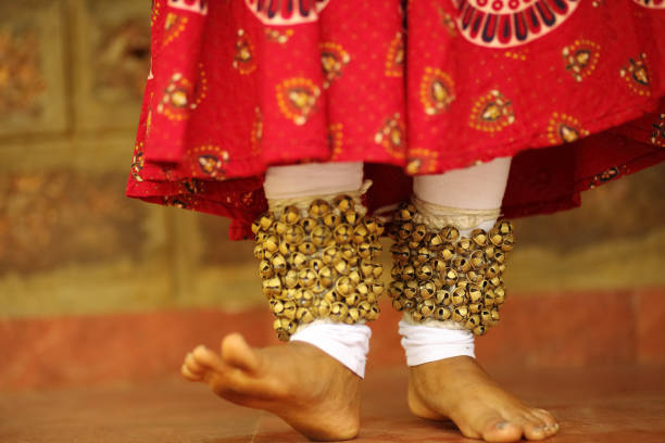 kathak dancer's footwork - classical style stock photos and pictures