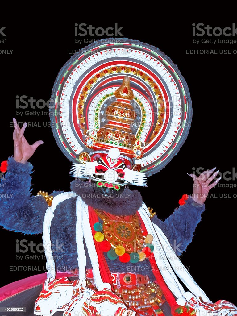 Kathakali artist in action stock photo
