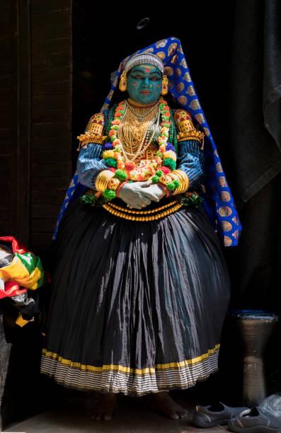 Kathakali dancer. Kathakali dance show at the Boris Garden Sofia in Bulgaria. stock photo