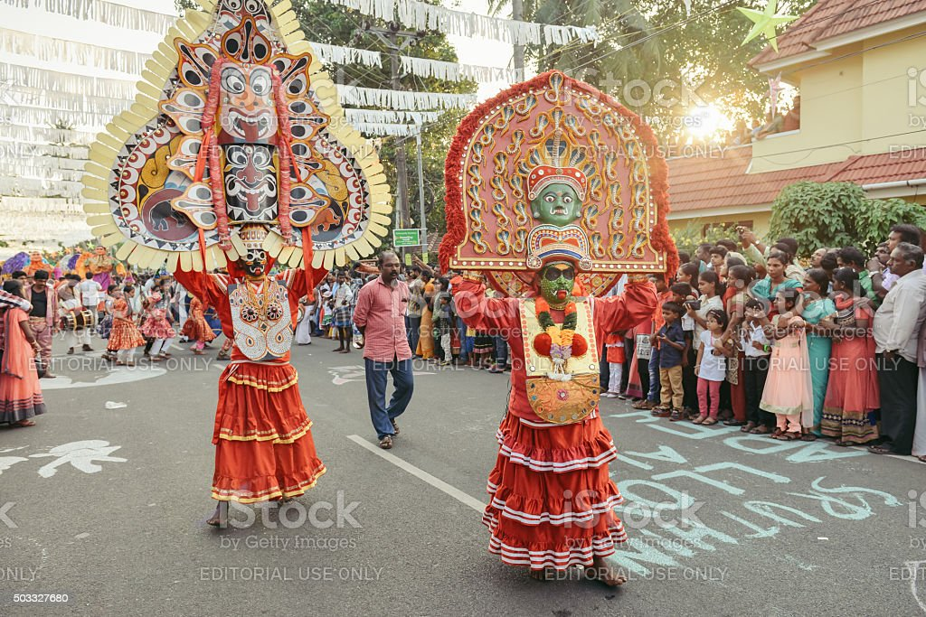 Kathakali dancer performing on the streets, South India stock photo