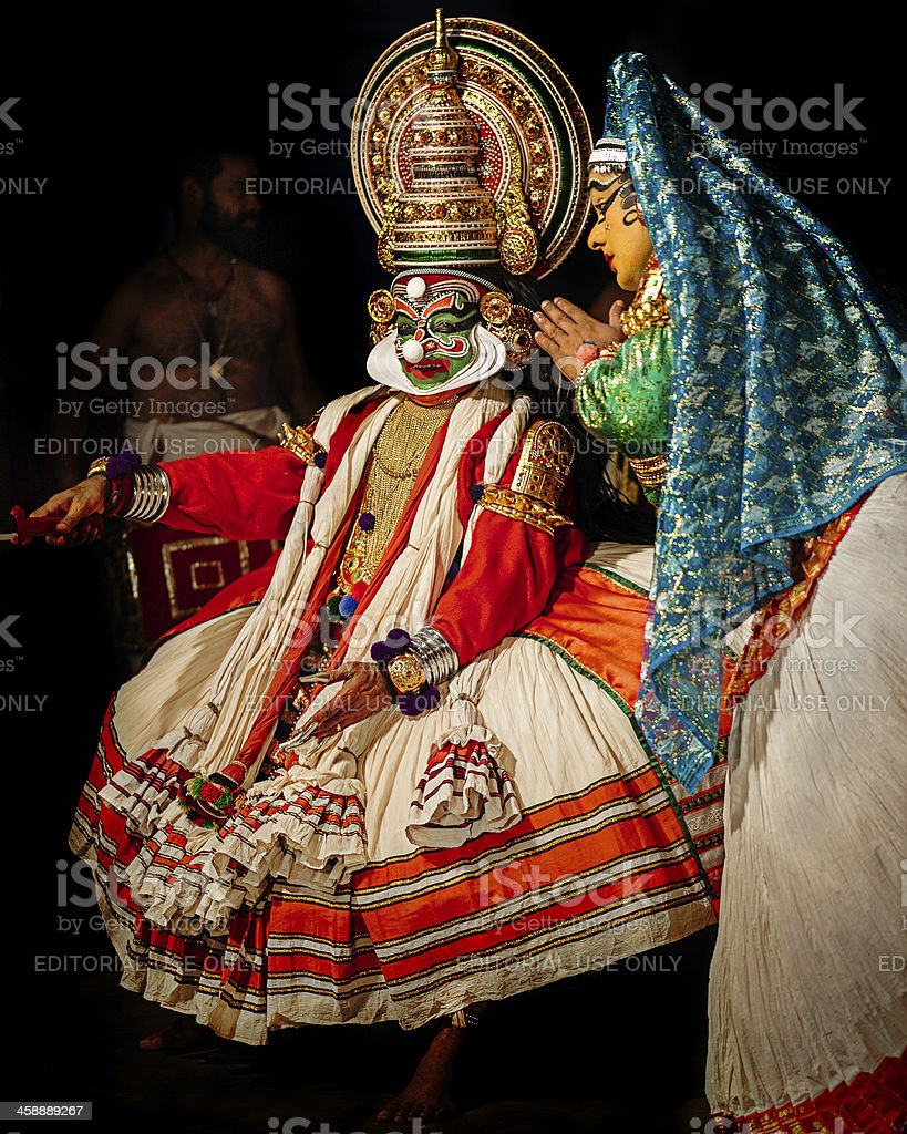 Kathakali, dancers in performance, Kannur, Kerala, India stock photo