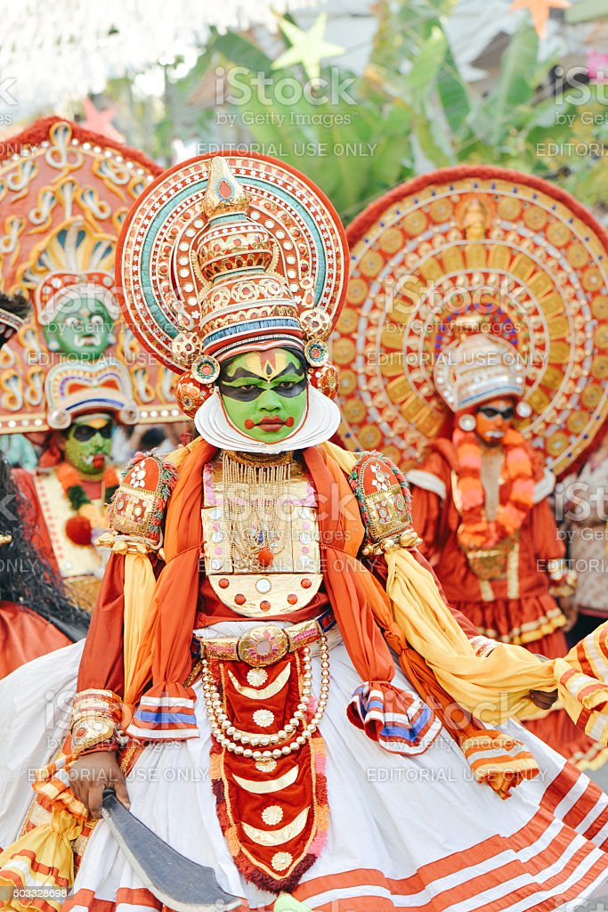 Kathakali performer in pachcha (green) role on Carnival, South I stock photo