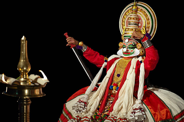 kathakali performer, kannur, kerala, india - classical style stock photos and pictures