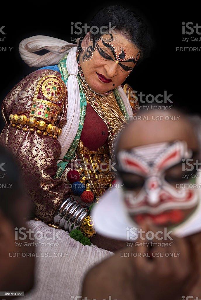 Kathakali, performers applying make-up, Kannur, Kerala, India stock photo