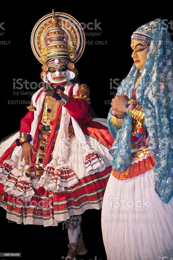 Kathakali, two dancers, Kannur, Kerala, India stock photo