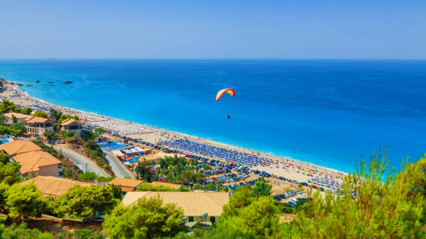 Kathisma beach, Lefkada island, Greece. Long beach with turquoise water on the Ionian islands in Greece stock photo