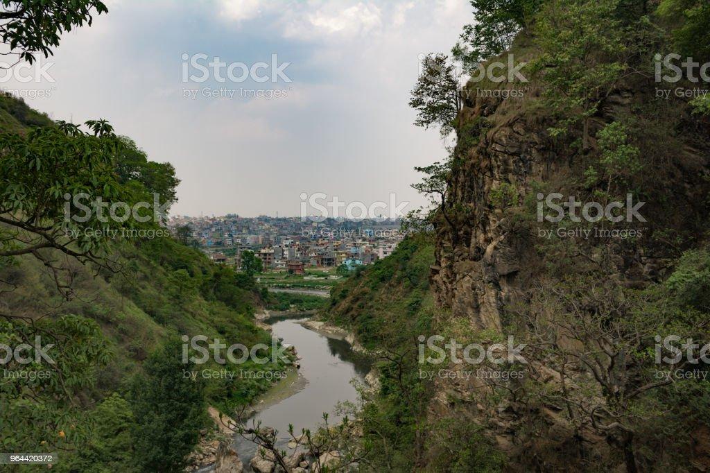 Kathmandu stad vanaf de Chovar Hill - Royalty-free Architectuur Stockfoto