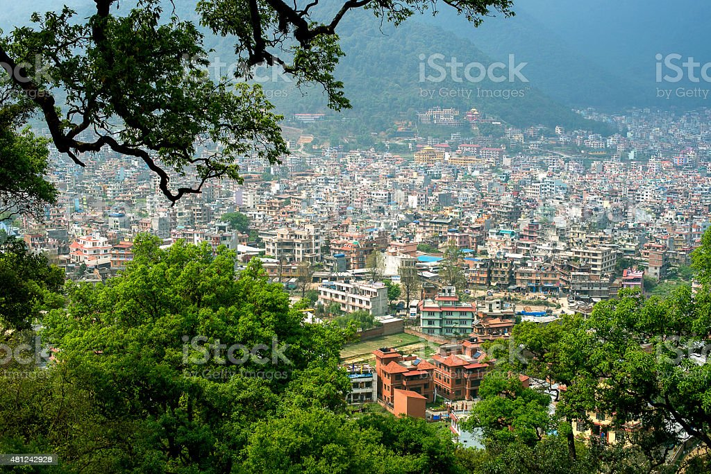 Kathmandu city panorama view from Swayambhunath temple stock photo