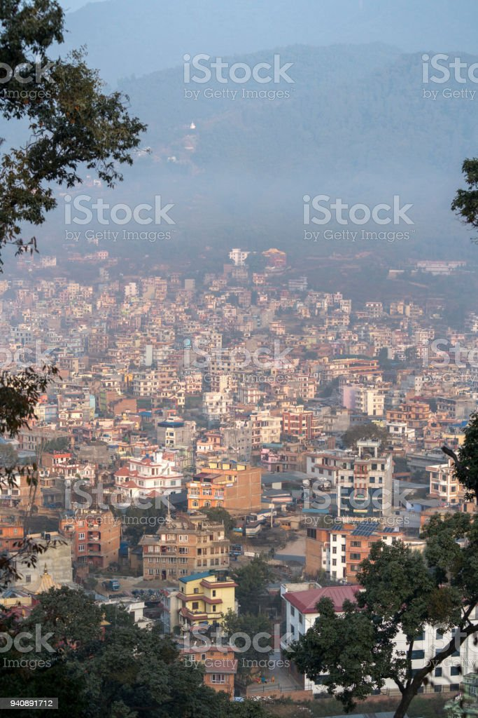 Kathmandu city view from Swayambhunath. Tourism in Nepal stock photo