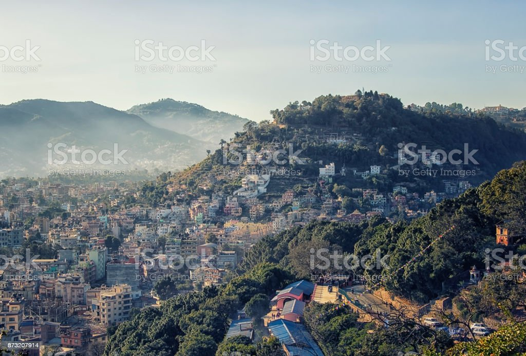 Kathmandu city viewed from the hill stock photo