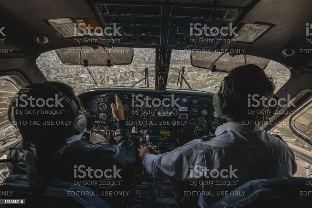 Kathmandu cockpit view stock photo