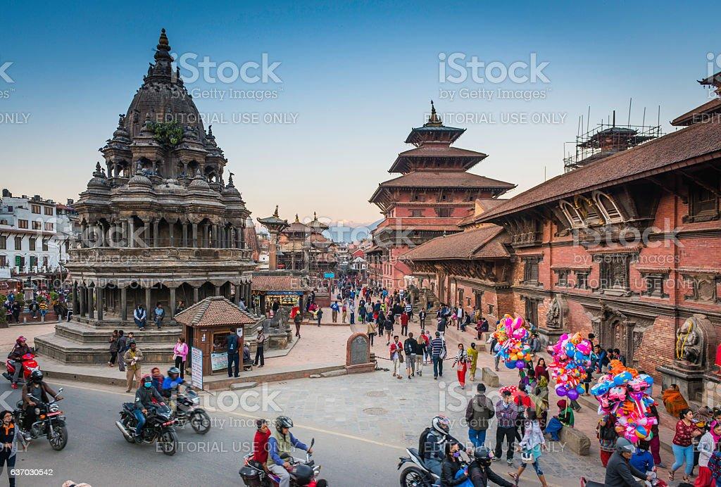 Kathmandu crowds of people outside temples Patan Durbar Square Nepal stock photo