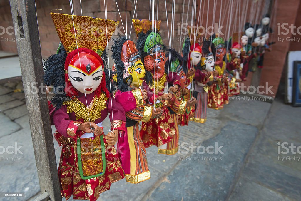 Kathmandu handmade puppets for sale in Durbar Square Nepal royalty-free stock photo
