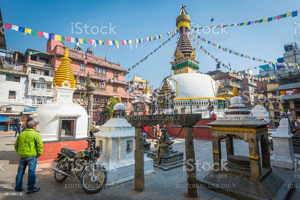 Kathmandu prayer flags at Kathesimbhu stupa Buddhist shrine Thamel Nepal stock photo