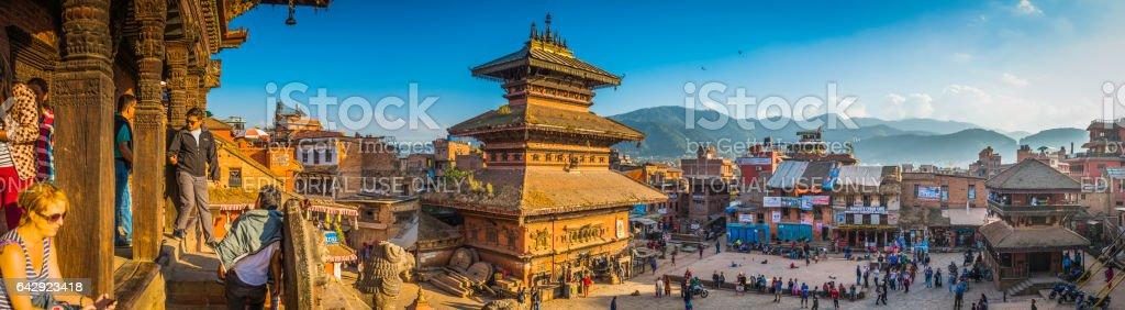 Kathmandu tourists locals ancient temples Bhaktapur Durbar Square panorama Nepal stock photo