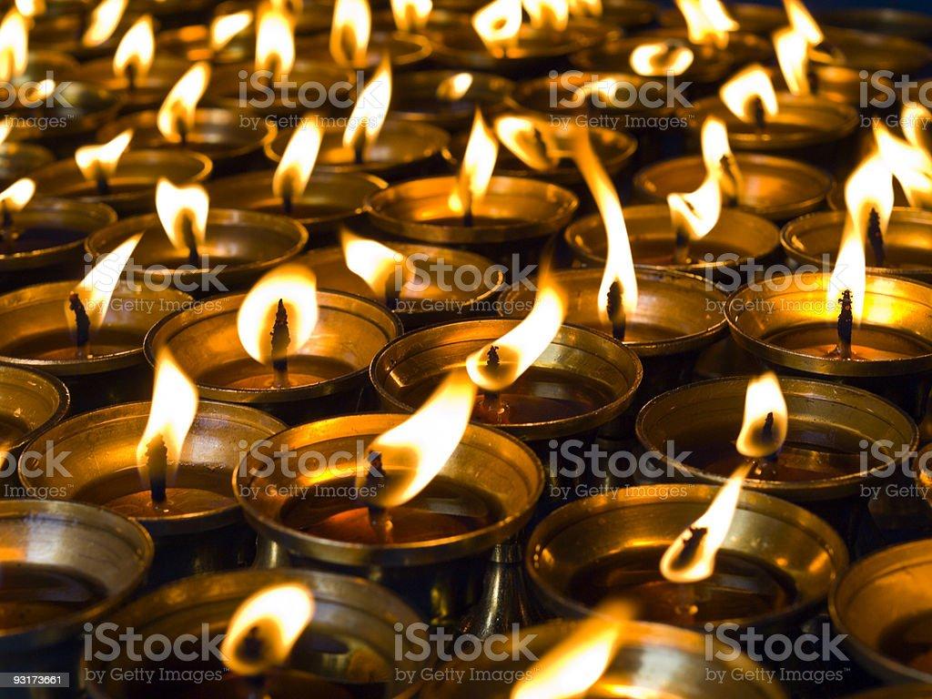 Katmandu temple Buddhist butter lamps (candles) royalty-free stock photo