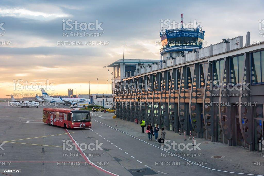 Katowice-Pyrzowice International Airport at sunrise - Royalty-free Aerospace Industry Stock Photo