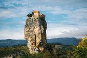 Katskhi pillar. Georgian landmarks. The church on a rocky cliff.