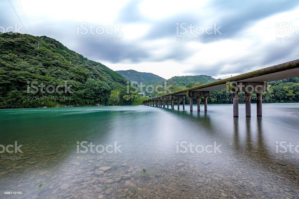 Katsuma Low Water Crossing (Kochi Prefecture Shimanto) in Japan stock photo