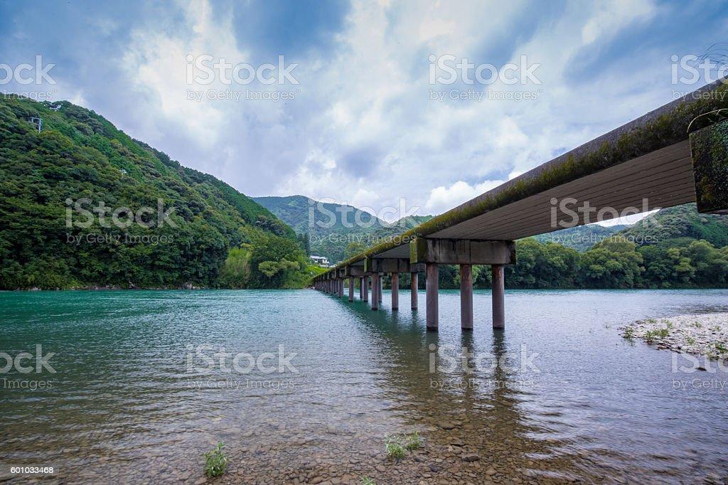 Katsuma Low Water Crossing (Kochi Prefecture Shimanto) in Japan ロイヤリティフリーストックフォト