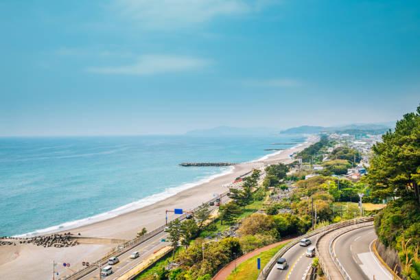 Katsurahama beach and cityscape in Kochi, Shikoku, Japan stock photo