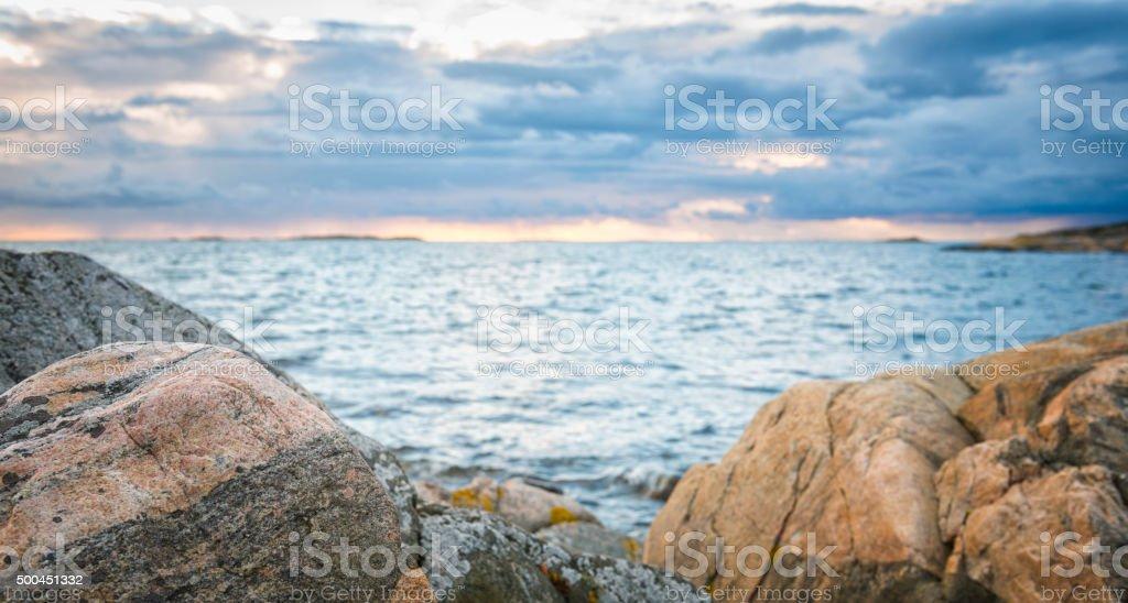 Kattegatt sea panorama sunset stock photo