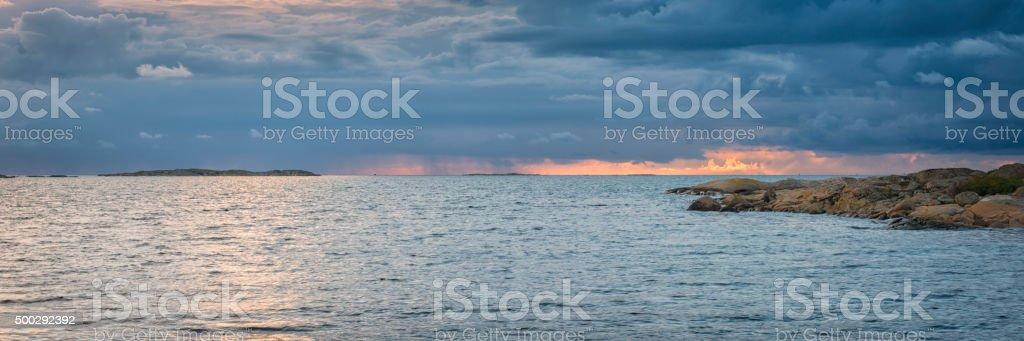 Kattegatt sea sunset panorama stock photo